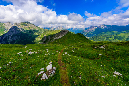 Mountain Scenery in the Alps of Austria - Hiking in the highland of Europe Stock Photo
