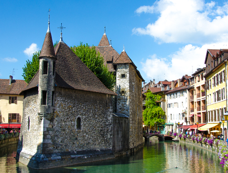 Panoramic view at the Lake Annecy in France, Haute Savoie, Vacation destination during the summer.