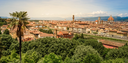 View of Florence from Piazzale Michelangelo - River Arno with Ponte Vecchio and Palazzo Vecchio, Duomo Santa Maria Del Fiore and Bargello - Tuscany, Italy
