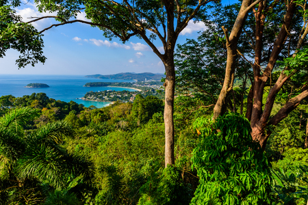 Karon View Point - View of Karon Beach, Kata Beach and Kata Noi in Phuket, Thailand. Landscape scenery of tropical and paradise island. Beautiful turquoise sea and blue sky on summer day.