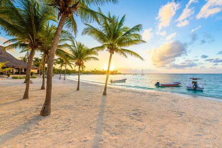 Akumal bay - Caribbean white beach in Riviera Maya, coast of Yucatan and Quintana Roo, Mexico 스톡 콘텐츠
