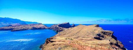 Panorama view of the wild coast and cliffs at Ponta de Sao Lourenco, Madeira island, Portugal Stock Photo