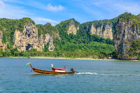 Tonsai Bay Beach with beautiful rock formation and landscape scenery in Krabi province - tropical coast with paradise beaches - Thailand Stock fotó