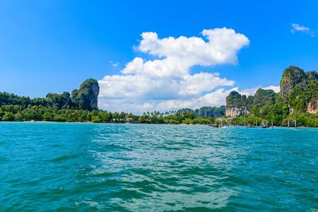 Railay East beach in beautiful bay in Krabi province, tropical coast with paradise beaches, Thailand Stock fotó
