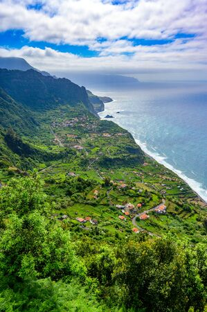 Beautiful landscape scenery of Madeira Island - View of small village Arco de Sao Jorge near Boaventura on the north side of Madeira, Portugal