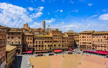 Siena -  Piazza del Campo - old historic city in Italy