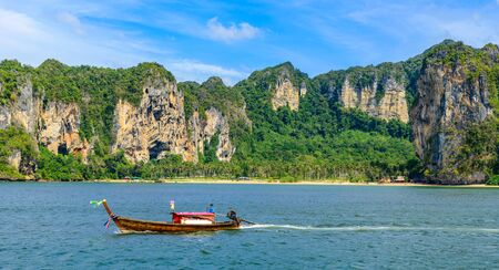Tonsai Bay Beach with beautiful rock formation and landscape scenery in Krabi province - tropical coast with paradise beaches - Thailand 写真素材