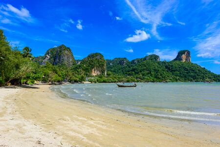 Railay East beach in beautiful bay in Krabi province, tropical coast with paradise beaches, Thailand 写真素材