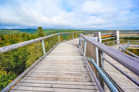 Treetop walk in Black Forest with 40m high Lookout tower with observation deck with beautiful view located at Sommerberg, Bad Wildbad - Travel destination in Germany