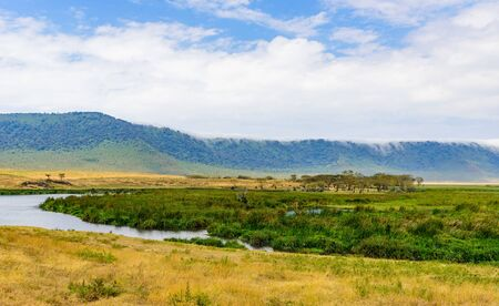 Panorama of Ngorongoro crater National Park with the Lake Magadi. Safari Tours in Savannah of Africa. Beautiful landscape scenery in Tanzania, Africa Banque d'images