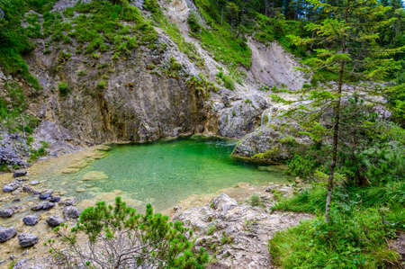 Beautiful scenery of Stuibenfälle - River and waterfall at Reutte in mountain scenery of Alps, Austria