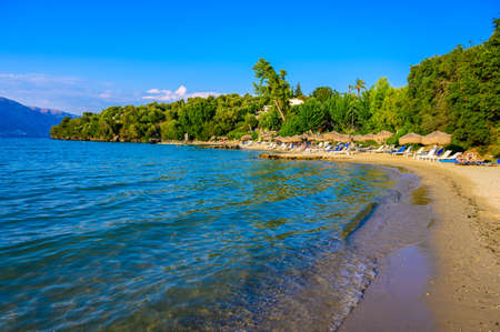 Spilios beach at Kommeno is close to Kerkyra is a paradise beach with crystal clear azure water in Corfu, Ionian island, Greece, Europe