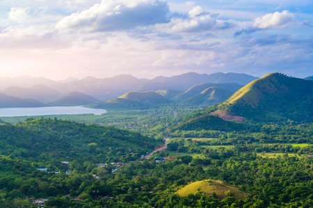 Countryside of Coron - Amazing view from Mount Tapyas on Busuanga Island at sunset - tropical destination with paradise landscape scenery, Palawan, Philippines.