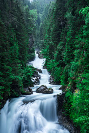 Cascate di Riva - also known as Campo Tures Falls or Reinbach waterfall in Ahrntal valley of Alps, Dolomites, South Tyrol, Italy