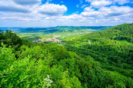 Viewpoint on mountain Moerikefels with a great view to Landscape of Swabian Alb, Ochsenwang, Stuttgart, Germany