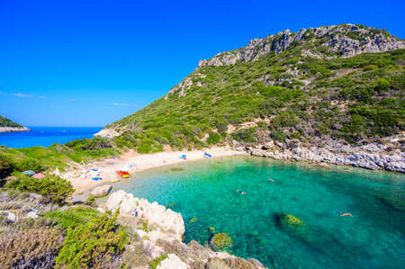 Porto Timoni beach at Afionas - -paradise and white double beach with crystal clear azure water in Corfu, Twin bay, Ionian island, Greece - Europe Imagens