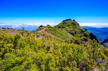 Achada do Teixeira - View from the Pico Ruivo - Hiking on Madeira Island, Portugal 免版税图像