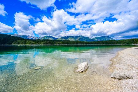 Paradise beach at Eibsee lake. Beautiful landscape scenery  clear  water in German Alps at Zugspitze mountain - Garmisch Partenkirchen, Grainau - , Germany, Europe.