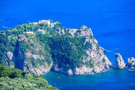 View from Angelokastro to the coast of Paleokastritsa - Paradise coastline scenery with crystal clear azure water in Bays - Corfu, Ionian island, Greece, Europe Standard-Bild
