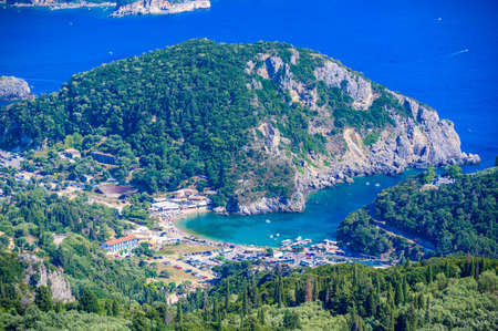 View from Castle Angelokastro to the coast of Paleokastritsa - Paradise coastline scenery with crystal clear azure water in Bays - Corfu, Ionian island, Greece, Europe