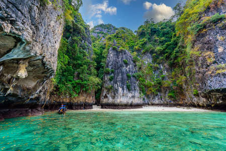 The Long Beach in paradise Bay - about 5 minutes boat ride from the Ao Ton Sai Pier - Koh Phi Phi Don Island at Krabi, Thailand - Tropical travel destination
