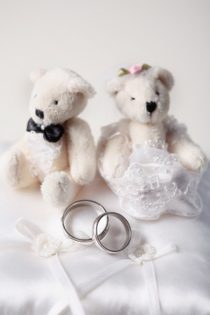 Two Wedding Rings and Two Small Teddy Bears