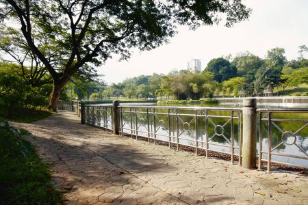 oxbow: A Public Pathway in an Urban Park Next to a Lake