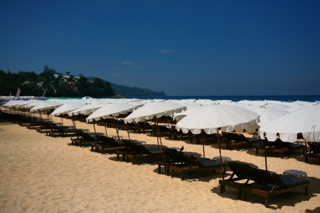 A Row of Sun Loungers and Parasols along Surin Beach, Thailand photo