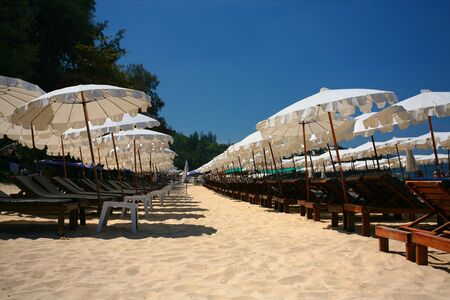 Rows of Sun Loungers and Parasols along Surin Beach, Thailand photo