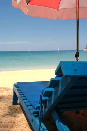 Looking out to Sea from a Sun Lounger, Layan Beach, Thailand Stock Photo