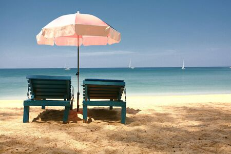 unwinding: Looking out to Sea from Behind a Pair of Sun Loungers, Layan Beach, Thailand
