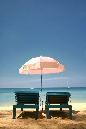 Looking out to Sea from Behind a Pair of Sun Loungers, Layan Beach, Thailand photo