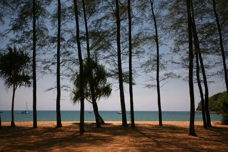 Looking out to Sea from Layan Beach, Thailand Stock Photo