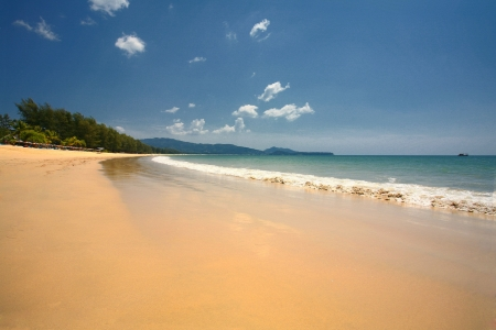 View along Layan Beach, Thailand with a Beautiful Clear Blue Sky