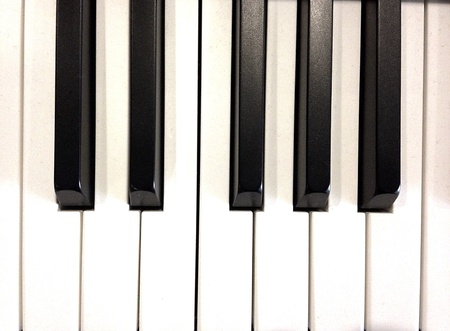 ivories: Close-up of a piano keyboard. Stock Photo
