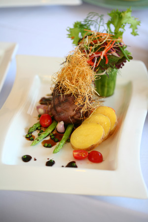 Beef Tenderloin Served with Asparagus