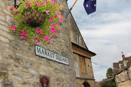 Market Square Sign in Minchinhampton, The Cotswolds, England Stock Photo