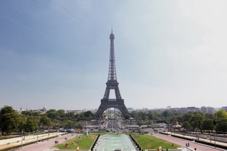 View of The Eiffel Tower from the Trocadero in Paris, France