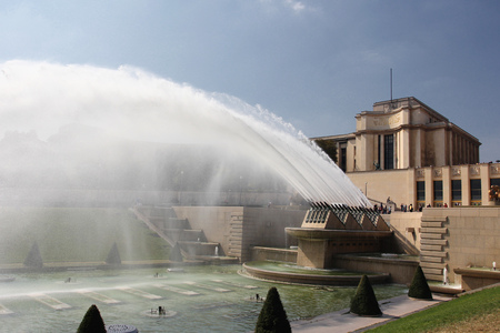 Fountains at the Trocadero in Paris, France Stock Photo