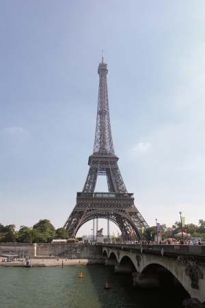 d'eiffel: View of The Eiffel Tower Across the River Seine in Paris, France