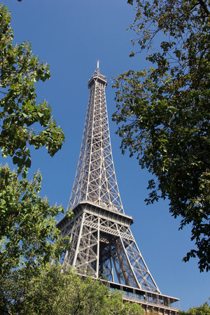 View of The Eiffel Tower from Champ de Mars in Paris, France Stock Photo