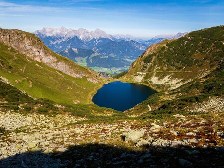 View to the Alps, Wild lake, snowy mountains