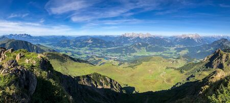 Panoramic view at the Austrian Alps, epic landscape, blue sky