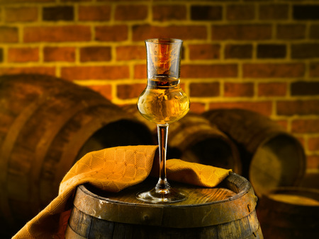 grappa: Glass of grappa Stock Photo