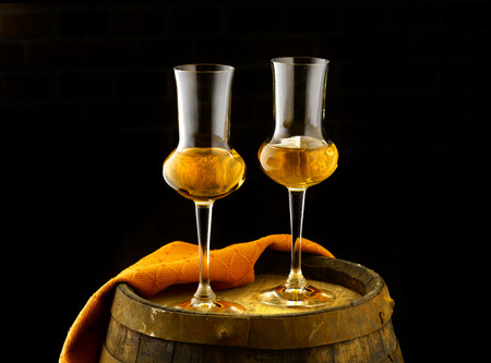 grappa: Glass of grappa tasting in the cellar