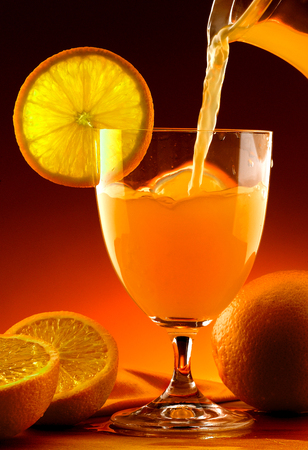 Oranges and orange juice photo