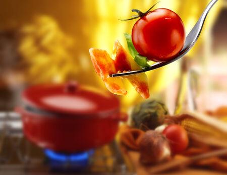 Basil pasta and tomato sauce photo