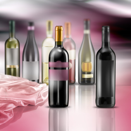 wine bottles of various kinds photo