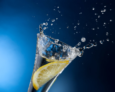drinking source: water and lemon Stock Photo