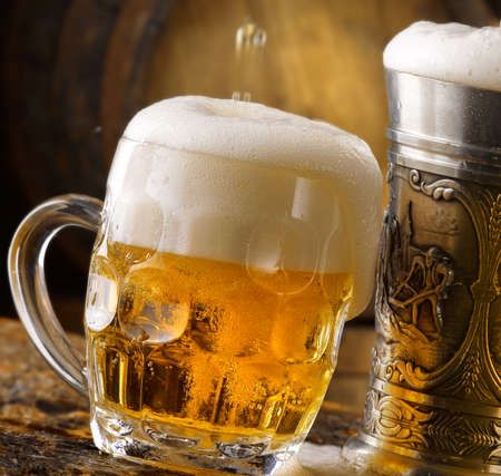 stunning photo shots of beer mugs in the cellar